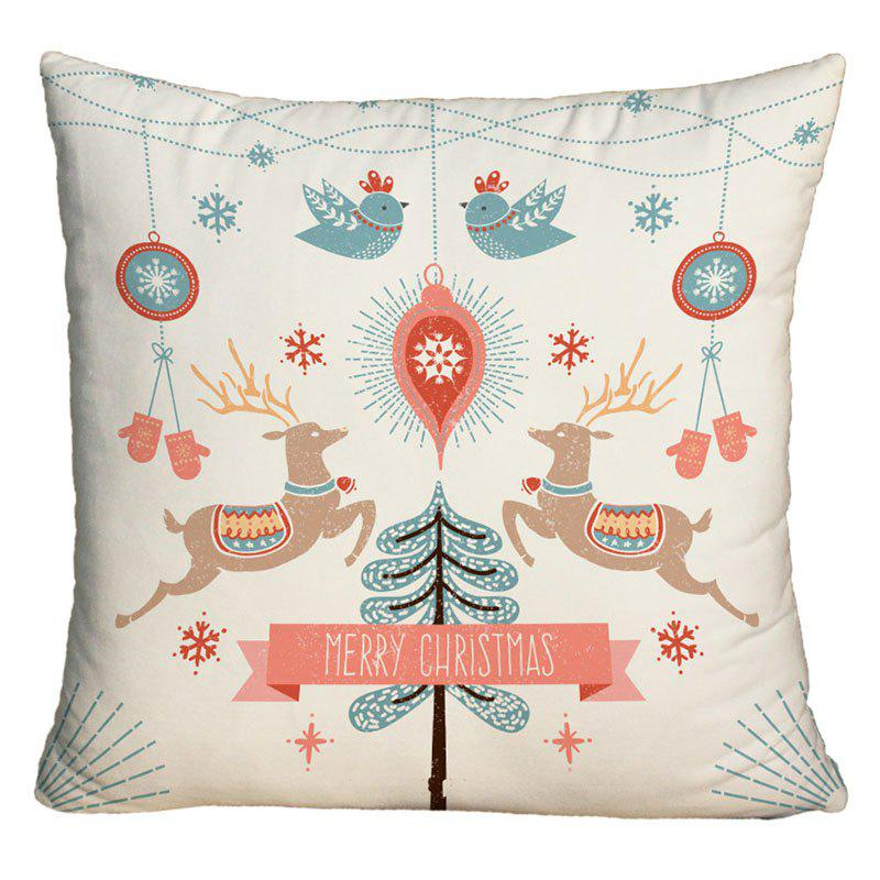 Merry Christmas Graphic Square Decorative PillowcaseHOME<br><br>Size: W18 INCH * L18 INCH; Color: COLORMIX; Material: Polyester / Cotton; Pattern: Animal,Tree; Style: Festival; Shape: Square; Weight: 0.1000kg; Package Contents: 1 x Pillowcase;