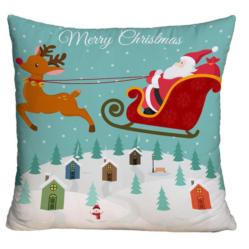 Christmas Sled Santa Claus Print Decorative PillowcaseHOME<br><br>Size: W18 INCH * L18 INCH; Color: COLORMIX; Material: Polyester / Cotton; Pattern: Animal,Santa Claus; Style: Festival; Shape: Square; Weight: 0.1000kg; Package Contents: 1 x Pillowcase;