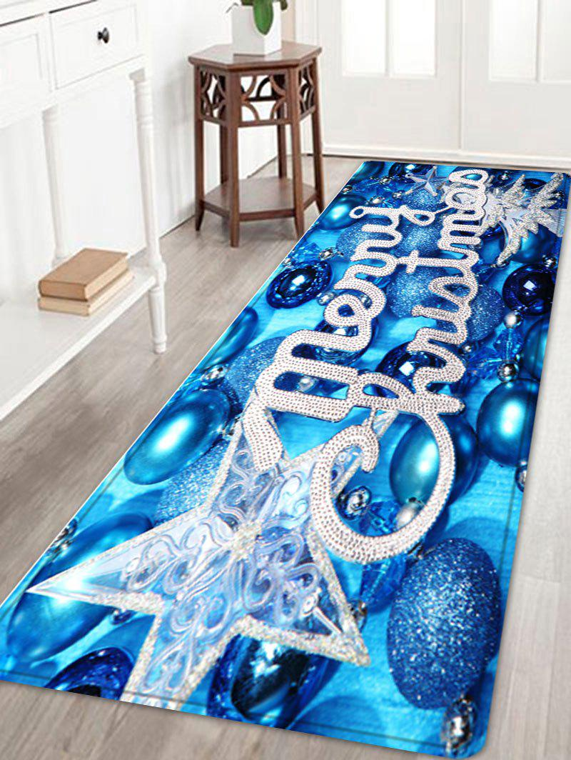 Merry Christmas Balls Pattern Anti-skid Water Absorption Area RugHOME<br><br>Size: W24 INCH * L71 INCH; Color: BLUE; Products Type: Bath rugs; Materials: Flannel; Pattern: Ball,Letter,Star; Style: Festival; Shape: Rectangle; Package Contents: 1 x Rug;