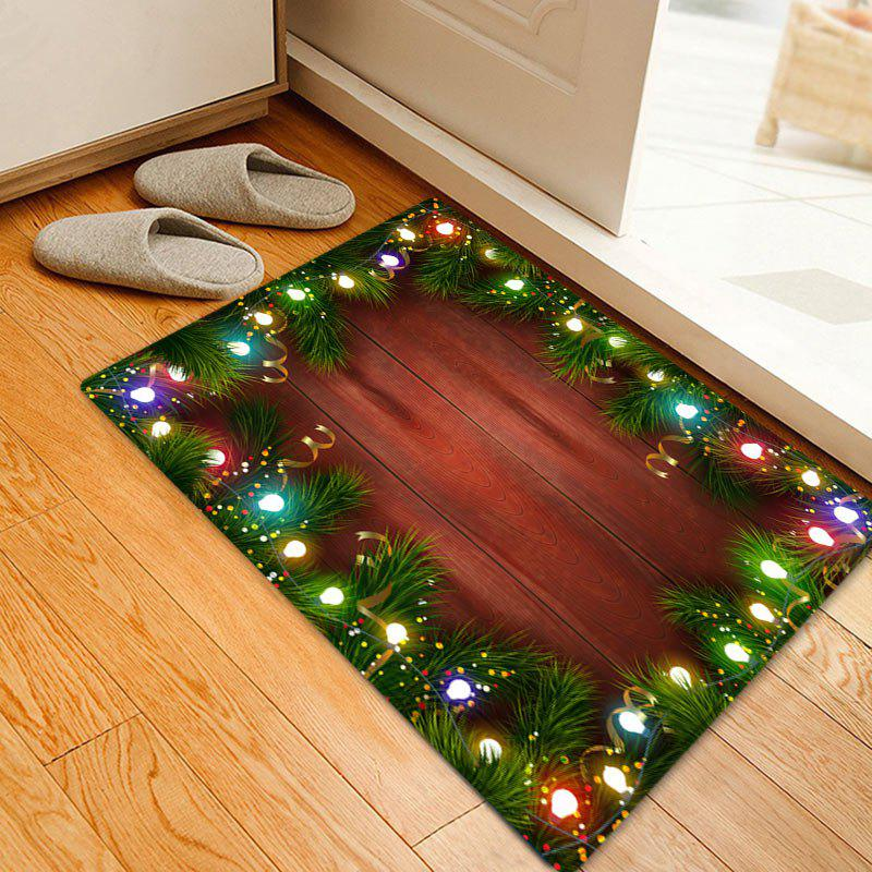 Christmas Pine Lights Pattern Anti-skid Water Absorbing Area RugHOME<br><br>Size: W20 INCH * L31.5 INCH; Color: COLORMIX; Products Type: Bath rugs; Materials: Flannel; Pattern: Plant,Wood Grain; Style: Festival; Shape: Rectangle; Package Contents: 1 x Rug;