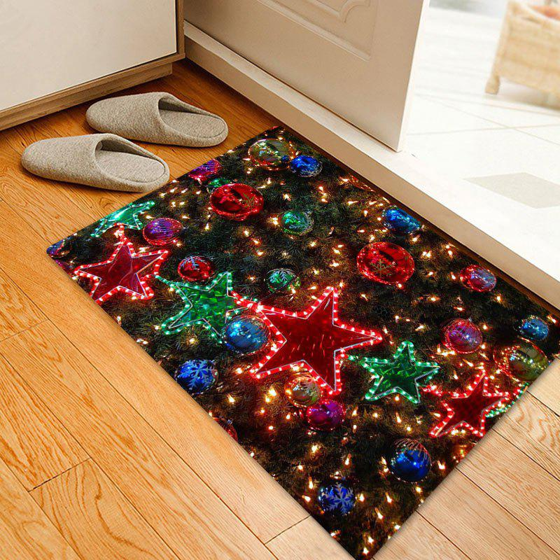 Christmas Star Balls Pattern Anti-skid Water Absorbing Area RugHOME<br><br>Size: W20 INCH * L31.5 INCH; Color: COLORMIX; Products Type: Bath rugs; Materials: Flannel; Pattern: Ball,Star; Style: Festival; Shape: Rectangle; Package Contents: 1 x Rug;