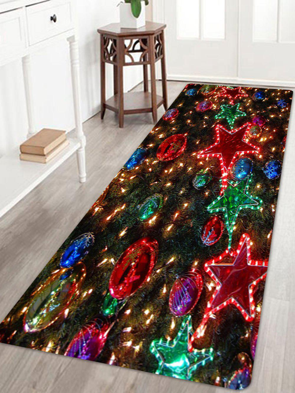 Christmas Star Balls Pattern Anti-skid Water Absorbing Area RugHOME<br><br>Size: W24 INCH * L71 INCH; Color: COLORMIX; Products Type: Bath rugs; Materials: Flannel; Pattern: Ball,Star; Style: Festival; Shape: Rectangle; Package Contents: 1 x Rug;