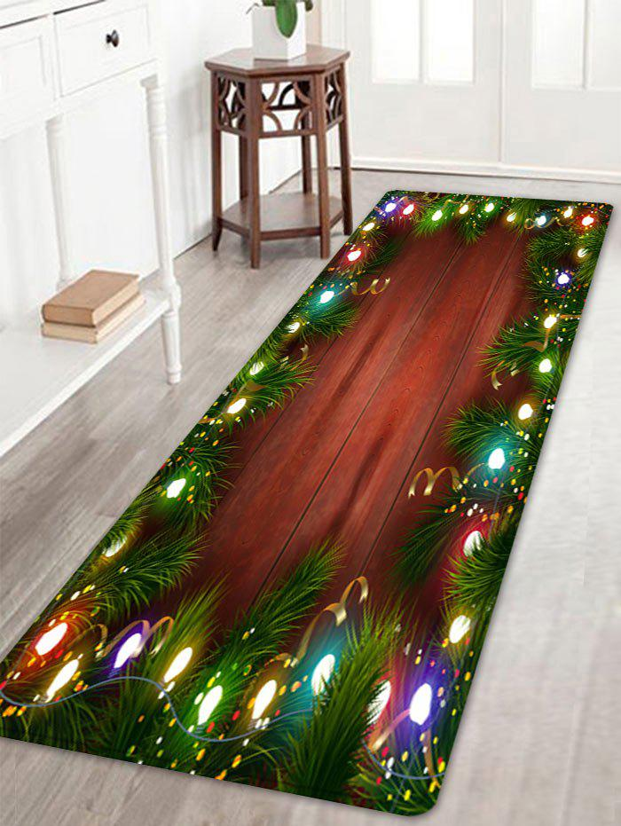 Christmas Pine Lights Pattern Anti-skid Water Absorbing Area RugHOME<br><br>Size: W16 INCH * L47 INCH; Color: COLORMIX; Products Type: Bath rugs; Materials: Flannel; Pattern: Plant,Wood Grain; Style: Festival; Shape: Rectangle; Package Contents: 1 x Rug;