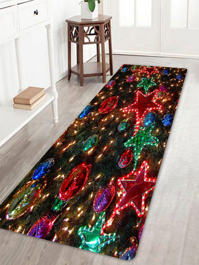 Christmas Star Balls Pattern Anti-skid Water Absorbing Area RugHOME<br><br>Size: W16 INCH * L47 INCH; Color: COLORMIX; Products Type: Bath rugs; Materials: Flannel; Pattern: Ball,Star; Style: Festival; Shape: Rectangle; Package Contents: 1 x Rug;