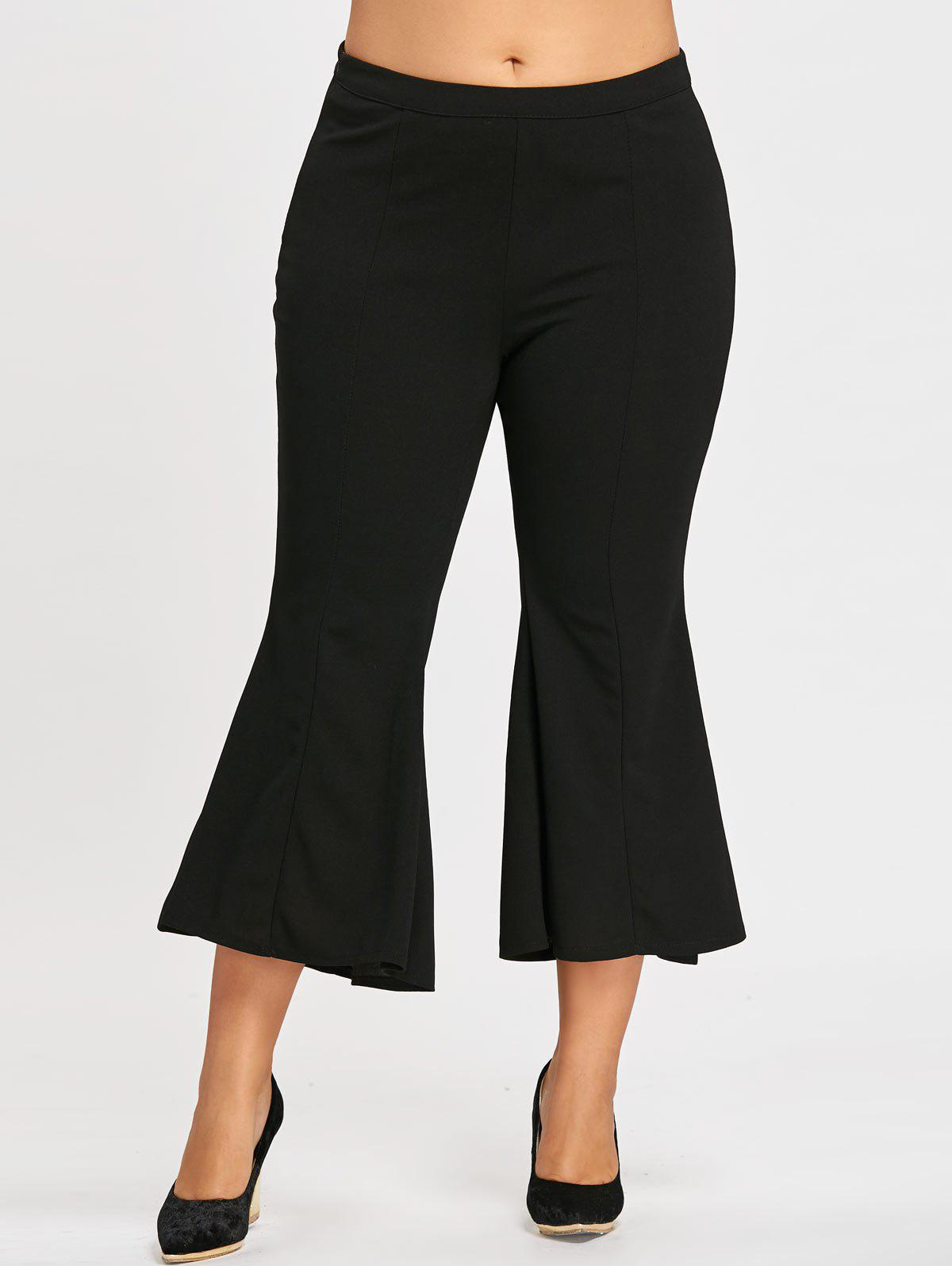 Zipper  High Waist Plus Size Flare PantsWOMEN<br><br>Size: 4XL; Color: BLACK; Style: Fashion; Length: Capri; Material: Polyester; Fit Type: Boot Cut; Waist Type: High; Closure Type: Zipper Fly; Pattern Type: Solid; Pant Style: Flare Pants; Weight: 0.3500kg; Package Contents: 1 x Pants;