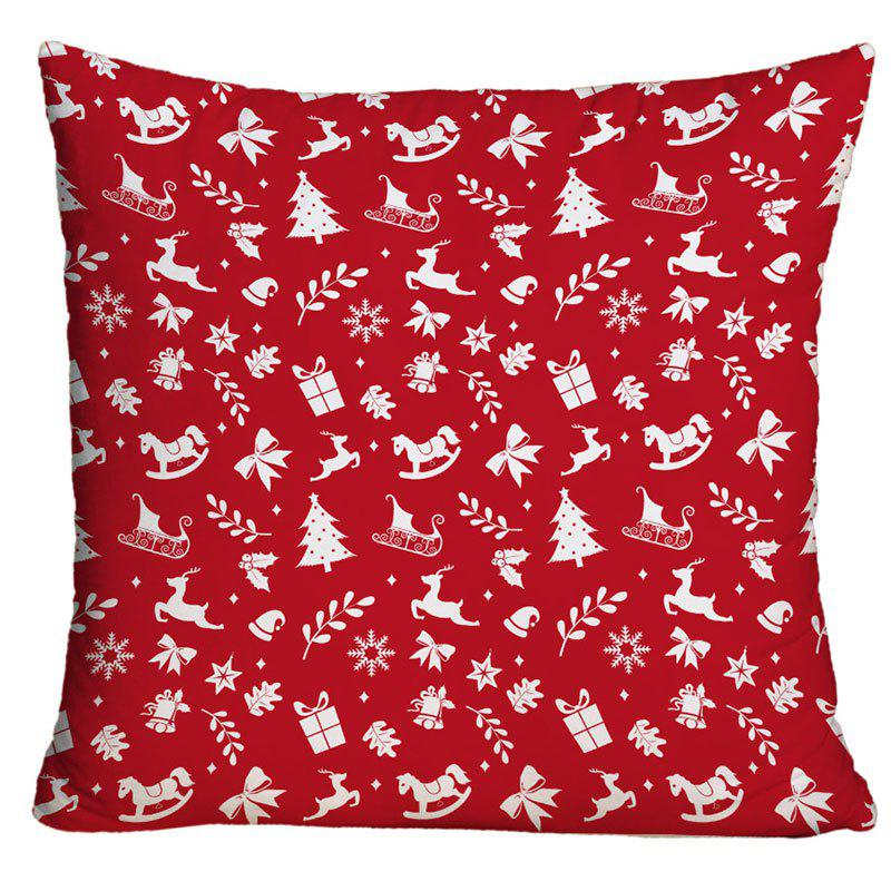 Christmas Elements Print Decorative Throw PillowcaseHOME<br><br>Size: W17.5 INCH * L17.5 INCH; Color: RED; Material: Polyester / Cotton; Pattern: Printed; Style: Festival; Shape: Square; Weight: 0.1000kg; Package Contents: 1 x Pillowcase;