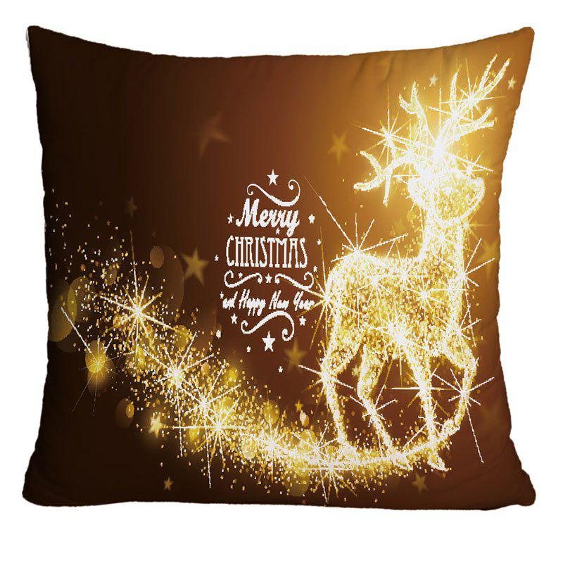 Online Merry Christmas Sparkling Reindeer Print Decorative Pillow Case