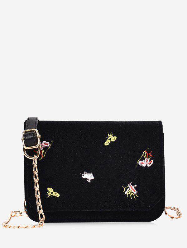 Hot Chain Flowers Embroidery Crossbody Bag