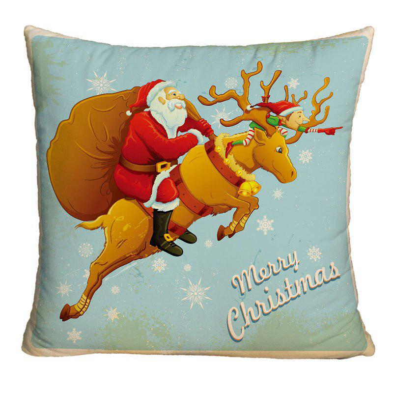Santa Claus Riding a Deer Print Decorative Christmas PillowcaseHOME<br><br>Size: W18 INCH * L18 INCH; Color: COLORMIX; Material: Polyester / Cotton; Pattern: Elk,Santa Claus; Style: Festival; Shape: Square; Weight: 0.1000kg; Package Contents: 1 x Pillowcase;