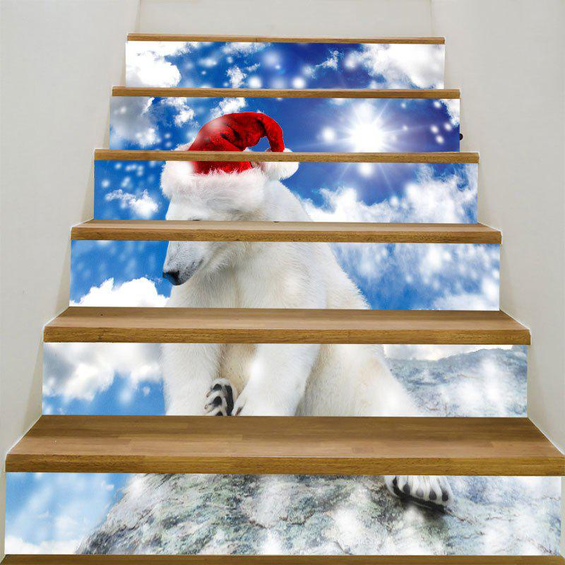 Decorative Christmas White Bear Printed DIY Stair StickersHOME<br><br>Size: 100*18CM*6PCS; Color: BLUE AND WHITE; Wall Sticker Type: Plane Wall Stickers; Functions: Stair Stickers; Theme: Christmas; Pattern Type: Animal; Material: PVC; Feature: Removable; Weight: 0.3100kg; Package Contents: 1 x Stair Stickers (Set);
