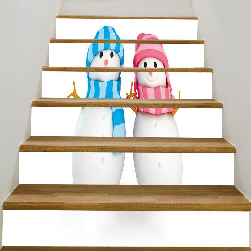 Christmas Snowman Couples Printed DIY Removable Stair StickersHOME<br><br>Size: 100*18CM*6PCS; Color: COLORFUL; Wall Sticker Type: Plane Wall Stickers; Functions: Stair Stickers; Theme: Christmas; Pattern Type: Snowman; Material: PVC; Feature: Removable; Weight: 0.3100kg; Package Contents: 1 x Stair Stickers (Set);
