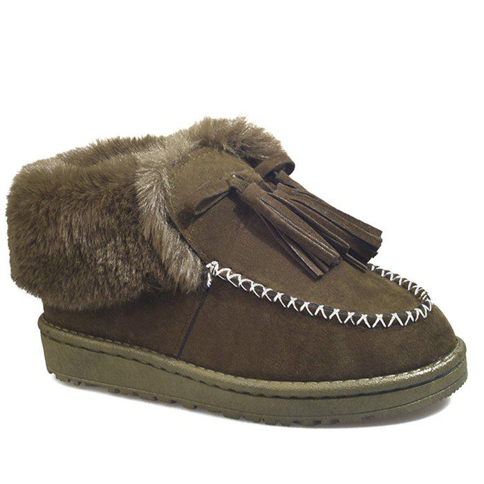 Shops Sewing Faux Fur Tassels Ankle Boots