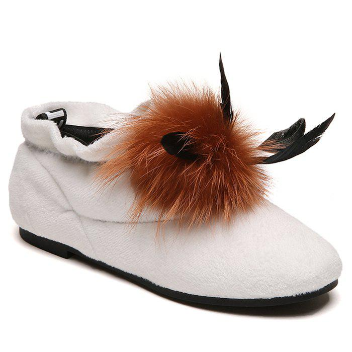 Hot Round Toe Flat Heel Faux Fur Ankle Boots