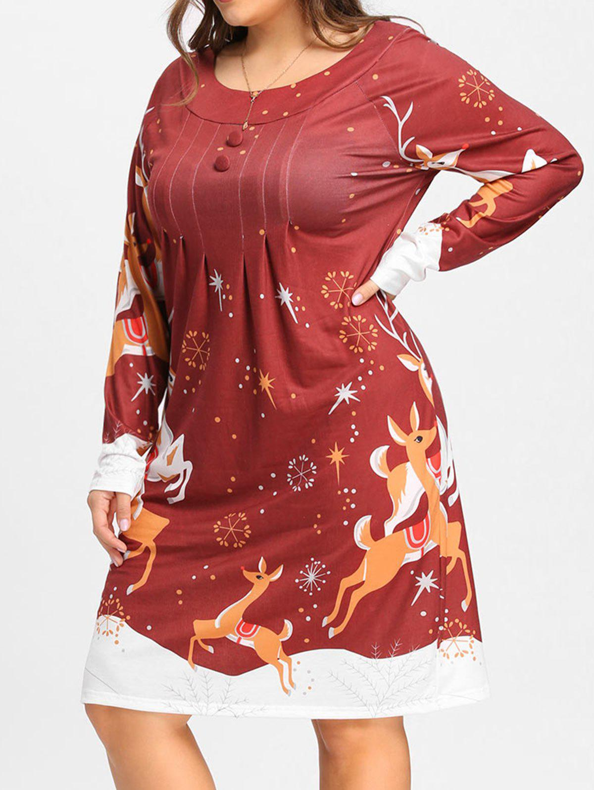 Christmas Elk Plus Size Long Sleeve Shirt DressWOMEN<br><br>Size: 4XL; Color: WINE RED; Style: Cute; Material: Polyester,Spandex; Silhouette: Straight; Dresses Length: Knee-Length; Neckline: Round Collar; Sleeve Length: Long Sleeves; Pattern Type: Others; With Belt: No; Season: Fall,Spring; Weight: 0.4100kg; Package Contents: 1 x Dress;