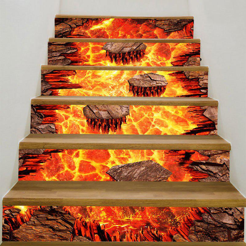 Volcano Lava Printed Stair StickersHOME<br><br>Color: FLAME RED; Wall Sticker Type: 3D Wall Stickers; Functions: Stair Stickers; Theme: Landscape; Pattern Type: 3D,Print; Material: PVC; Feature: Removable; Weight: 0.3100kg; Package Contents: 6 x Stair Stickers (Pcs);