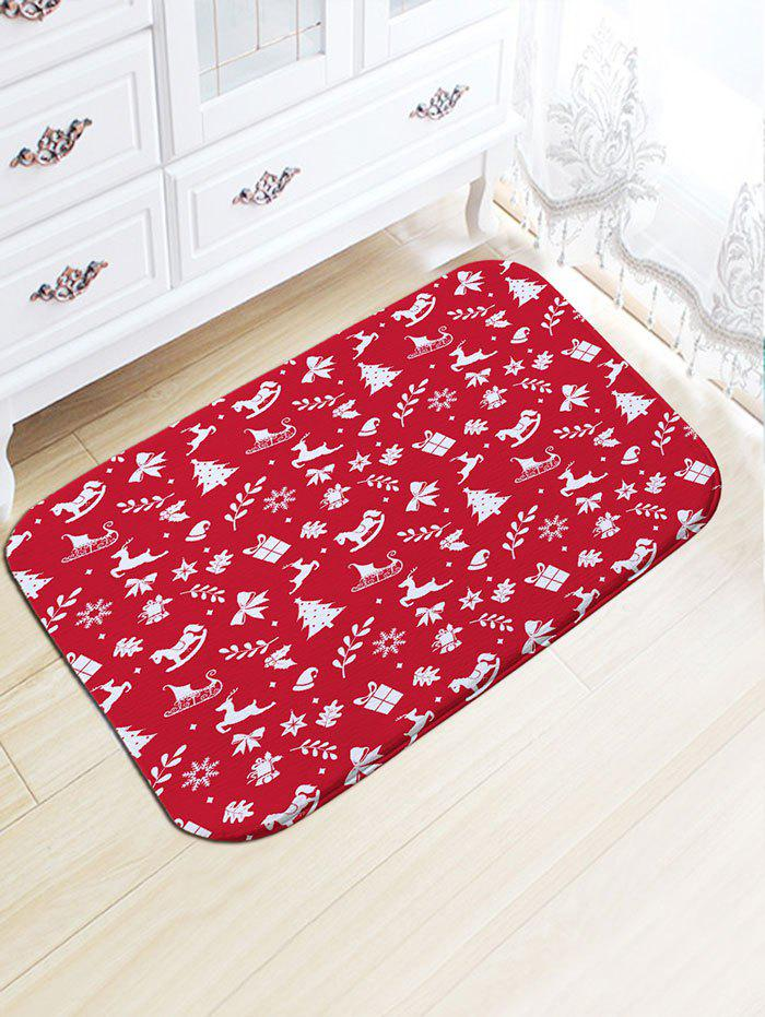Christmas Elements Print Flannel Skidproof Bath RugHOME<br><br>Size: W20 INCH * L31.5 INCH; Color: RED; Products Type: Bath rugs; Materials: Flannel; Style: Festival; Shape: Rectangular; Package Contents: 1 x Rug;
