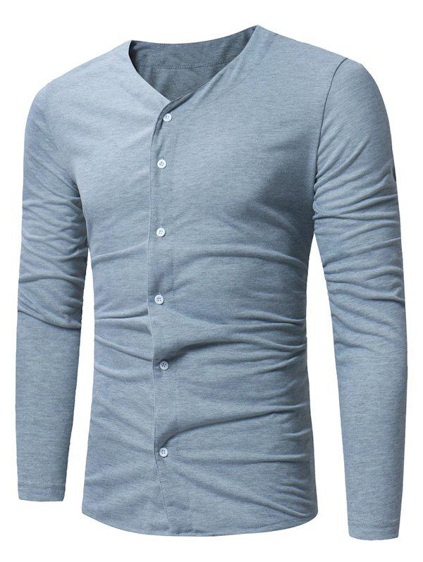 Cheap Button Up Long Sleeve T-shirt