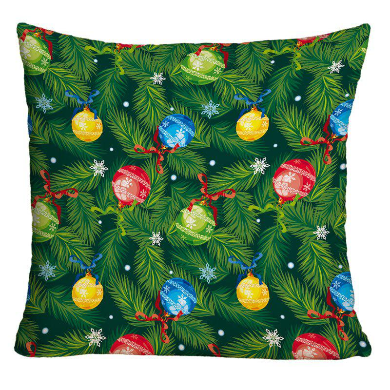 Christmas Pine Boughs Hanging Balls Printed Decorative PillowcaseHOME<br><br>Size: W18 INCH * L18 INCH; Color: GREEN; Material: Polyester / Cotton; Pattern: Plant; Style: Festival; Shape: Square; Weight: 0.1000kg; Package Contents: 1 x Pillow Case;