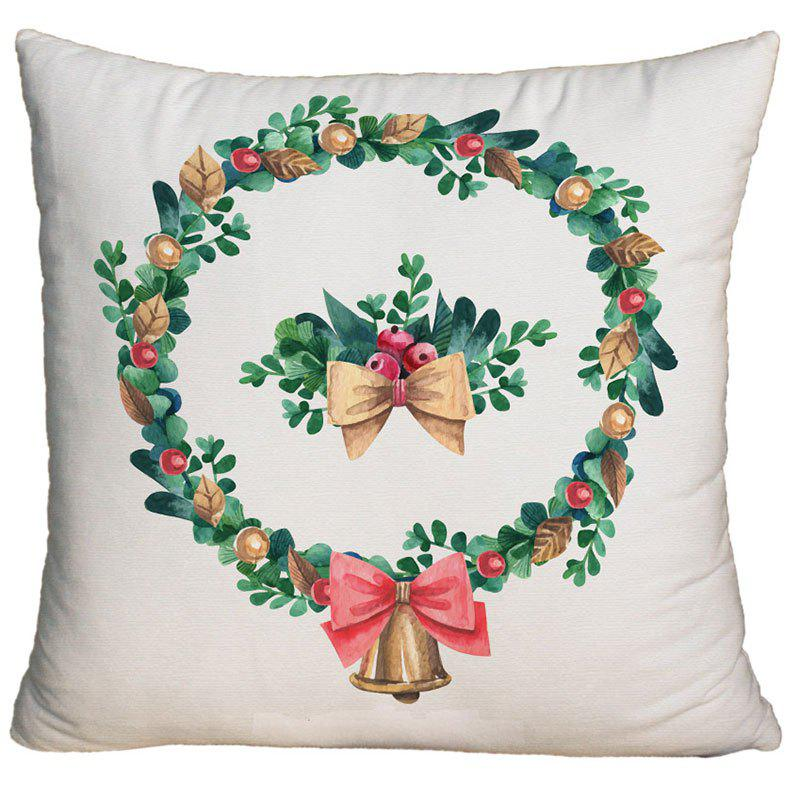 Cheap Watercolor Christmas Wreath Printed Square Decorative Pillowcase