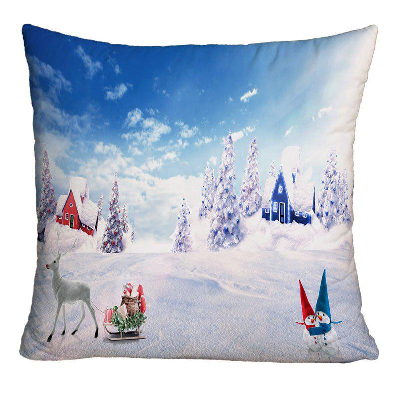 Christmas Snowscape Printed Square Decorative Pillow CaseHOME<br><br>Size: W18 INCH * L18 INCH; Color: COLORMIX; Material: Polyester / Cotton; Pattern: Animal,Snowman,Tree; Style: Festival; Shape: Square; Weight: 0.1000kg; Package Contents: 1 x Pillow Case;