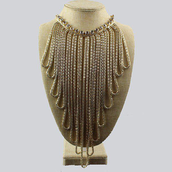 Statement Rhinestoned Alloy Fringed NecklaceJEWELRY<br><br>Color: GOLDEN; Gender: For Women; Metal Type: Alloy; Style: Trendy; Shape/Pattern: Fringe,Geometric; Length: 50CM+15CM (Extra Chain); Weight: 0.2000kg; Package Contents: 1 x Necklace;