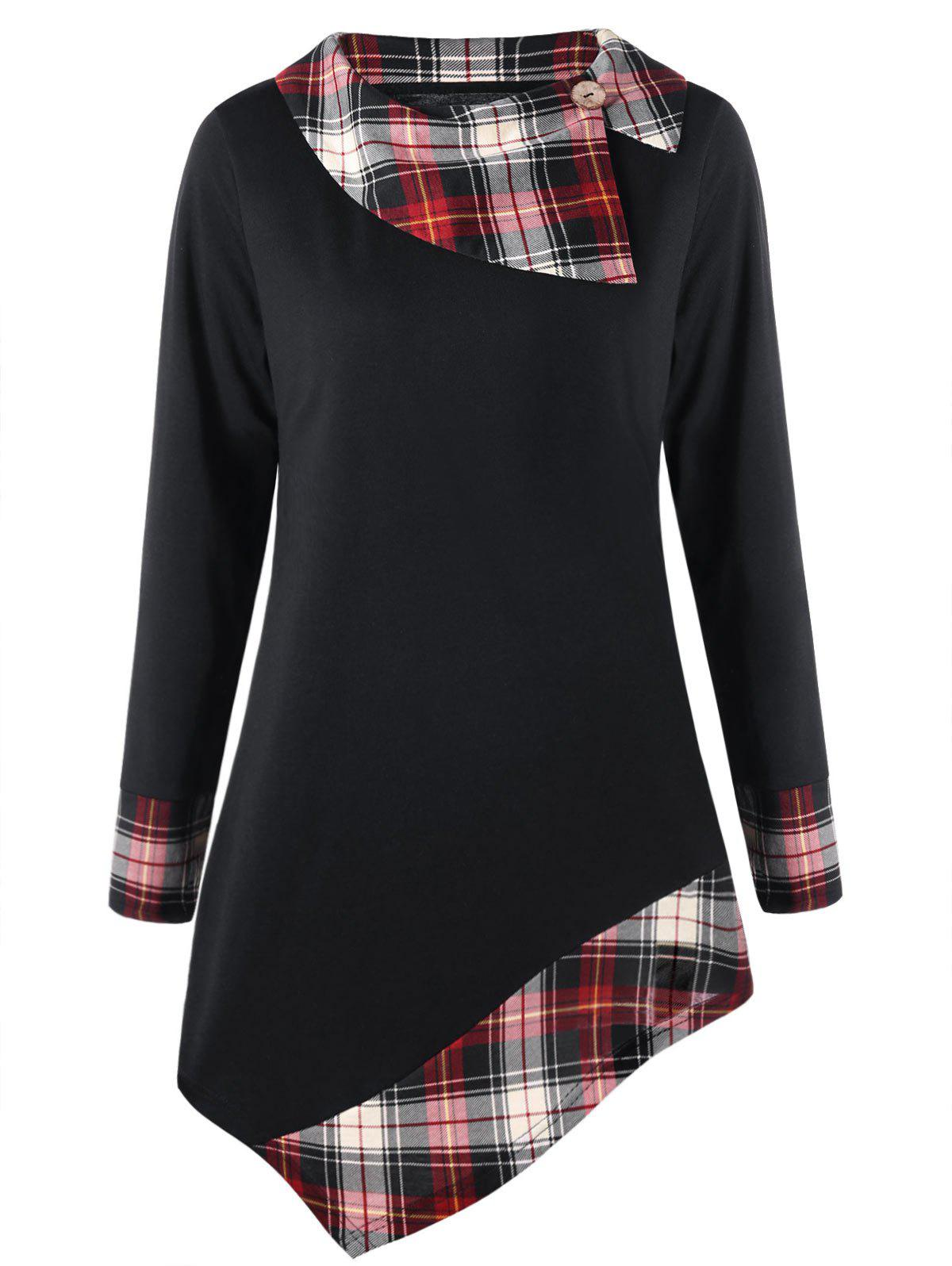 Plus Size Plaid Trim Asymmetrical TeeWOMEN<br><br>Size: XL; Color: BLACK; Material: Polyester,Spandex; Shirt Length: Long; Sleeve Length: Full; Collar: Turn-down Collar; Style: Casual; Season: Fall,Spring; Pattern Type: Plaid; Weight: 0.3100kg; Package Contents: 1 x Top;