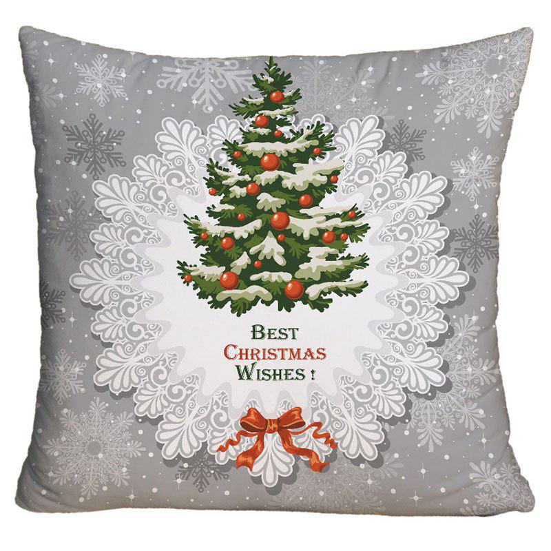 Christmas Tree Printed Square Decorative Throw Pillow CaseHOME<br><br>Size: W18 INCH * L18 INCH; Color: GRAY; Material: Polyester / Cotton; Pattern: Christmas Tree; Style: Festival; Shape: Square; Weight: 0.1000kg; Package Contents: 1 x Pillow Case;