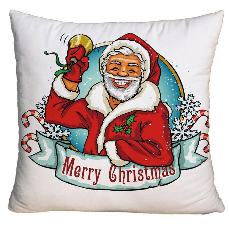 Santa Claus Pattern Decorative Square Christmas Pillow CaseHOME<br><br>Size: W18 INCH * L18 INCH; Color: WHITE; Material: Polyester / Cotton; Pattern: Santa Claus; Style: Festival; Shape: Square; Weight: 0.1000kg; Package Contents: 1 x Pillow Case;