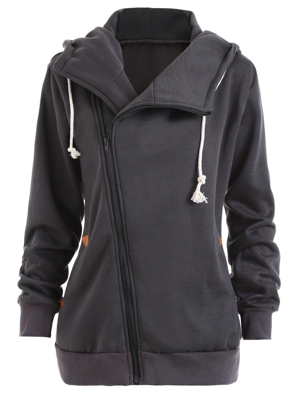 Plus Size Flocking Inclined Zipper Hooded CoatWOMEN<br><br>Size: 4XL; Color: DEEP GRAY; Clothes Type: Others; Material: Polyester; Type: Slim; Shirt Length: Long; Sleeve Length: Full; Collar: Hooded; Closure Type: Zipper; Pattern Type: Solid; Style: Casual; Season: Fall,Winter; With Belt: No; Weight: 0.7350kg; Package Contents: 1 x Coat;