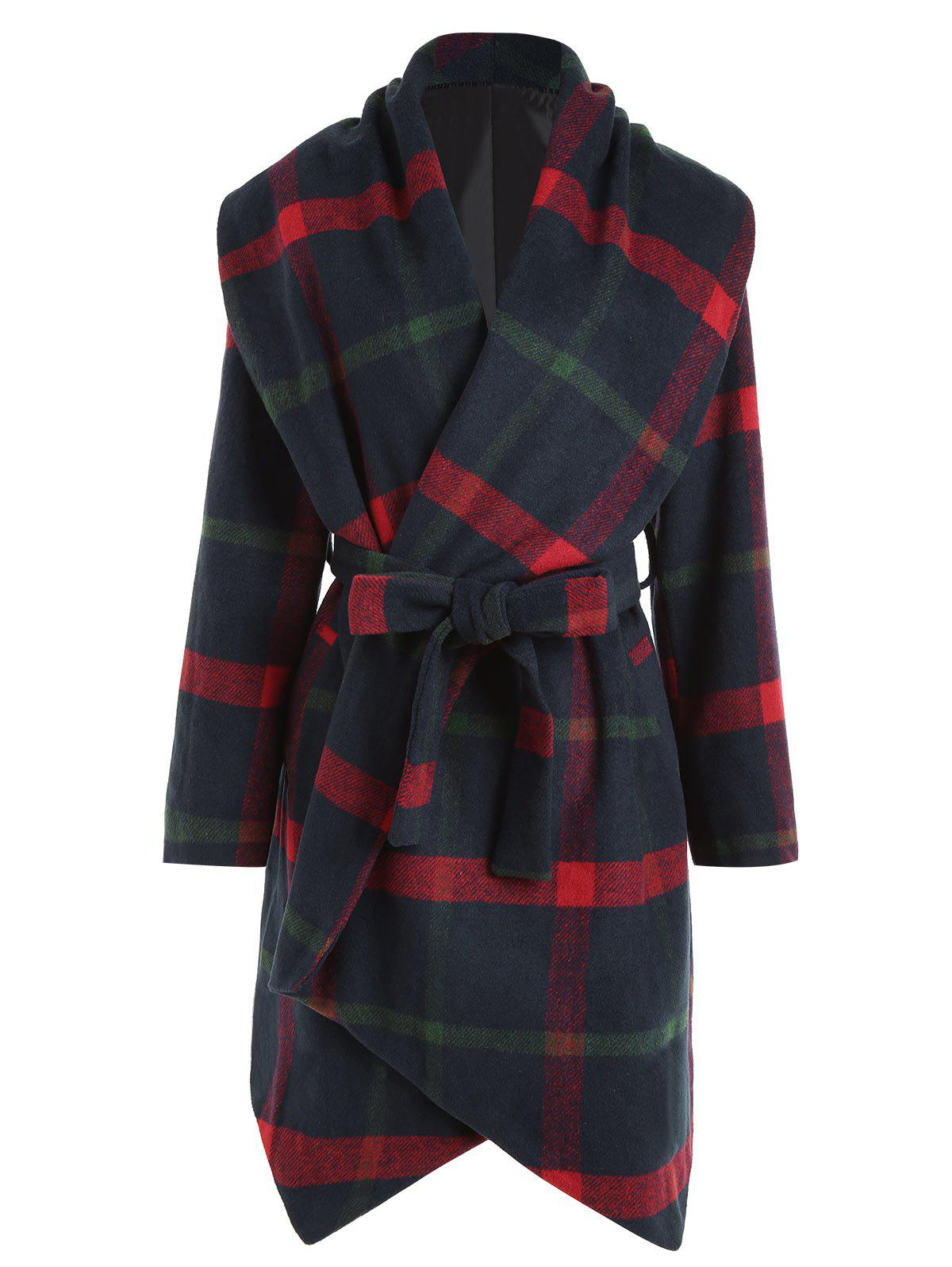 Plaid Wool Blend Belted Plus Size CoatWOMEN<br><br>Size: XL; Color: CHECKED; Clothes Type: Wool &amp; Blends; Material: Polyester; Type: Slim; Shirt Length: Long; Sleeve Length: Full; Collar: Shawl Collar; Pattern Type: Plaid; Style: Fashion; Season: Fall,Winter; With Belt: Yes; Weight: 1.4100kg; Package Contents: 1 x Coat  1 x Belt;
