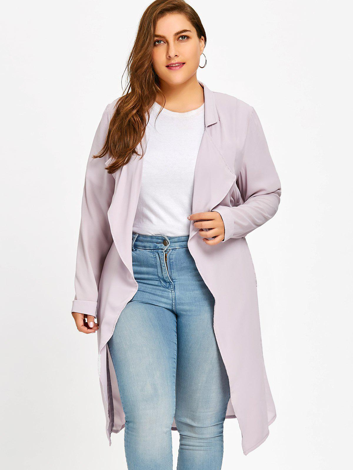 Cheap Lapel Belted Plus Size Coat