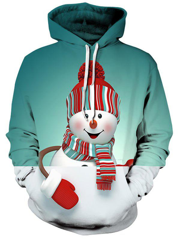 Christmas Snowman 3D Print HoodieMEN<br><br>Size: XL; Color: GREEN; Material: Polyester,Spandex; Clothes Type: Hoodie; Shirt Length: Regular; Sleeve Length: Full; Style: Casual; Patterns: 3D; Thickness: Regular; Occasion: Casual ,Going Out; Weight: 0.4700kg; Package Contents: 1 x Hoodie;