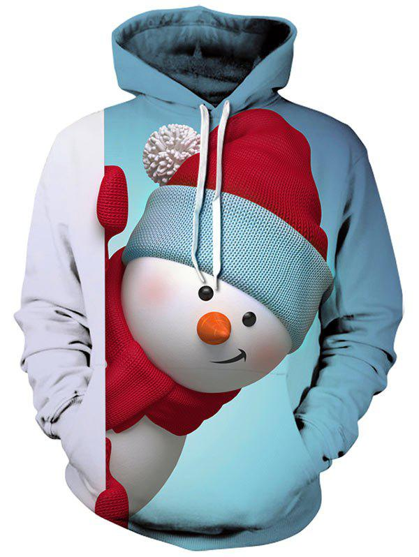 Kangaroo Pocket Snowman 3D Printed Christmas HoodieMEN<br><br>Size: XL; Color: LIGHT BLUE; Material: Polyester,Spandex; Clothes Type: Hoodie; Shirt Length: Regular; Sleeve Length: Full; Style: Casual; Patterns: 3D; Thickness: Regular; Occasion: Casual ,Going Out; Weight: 0.4700kg; Package Contents: 1 x Hoodie;