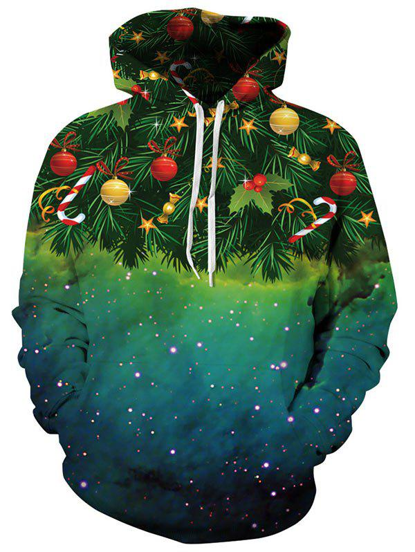 Kangaroo Pocket Christmas Tree Print HoodieMEN<br><br>Size: XL; Color: GREEN; Material: Polyester,Spandex; Clothes Type: Hoodie; Shirt Length: Regular; Sleeve Length: Full; Style: Casual; Patterns: Plants; Thickness: Regular; Occasion: Casual ,Going Out; Weight: 0.4700kg; Package Contents: 1 x Hoodie;