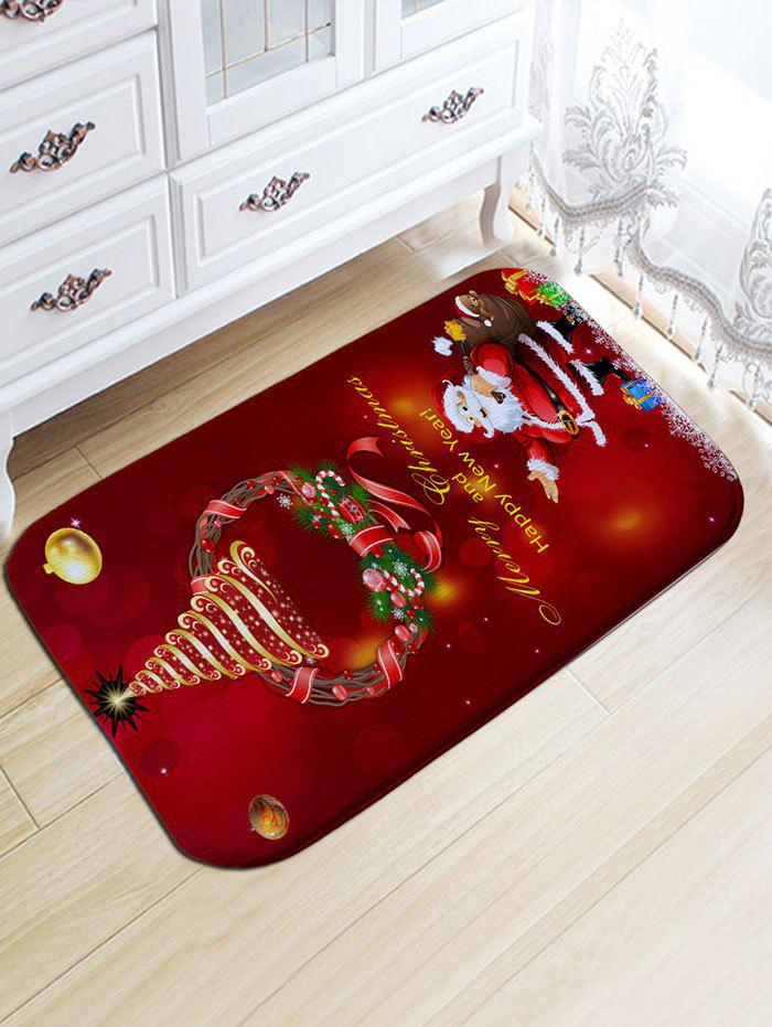 Christmas Wreath Santa Claus Print Antislip Flannel Bath RugHOME<br><br>Size: W20 INCH * L31.5 INCH; Color: DARK RED; Products Type: Bath rugs; Materials: Flannel; Pattern: Gift,Letter,Santa Claus; Style: Festival; Shape: Rectangular; Package Contents: 1 x Rug;
