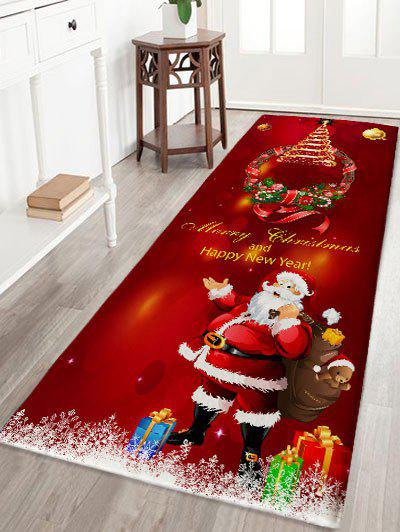 Christmas Wreath Santa Claus Print Antislip Flannel Bath RugHOME<br><br>Size: W24 INCH * L71 INCH; Color: DARK RED; Products Type: Bath rugs; Materials: Flannel; Pattern: Gift,Letter,Santa Claus; Style: Festival; Shape: Rectangular; Package Contents: 1 x Rug;