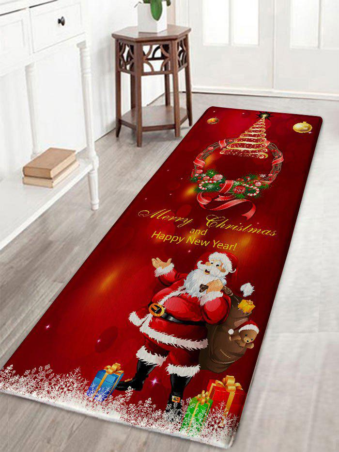 Christmas Wreath Santa Claus Print Antislip Flannel Bath RugHOME<br><br>Size: W16 INCH * L47 INCH; Color: DARK RED; Products Type: Bath rugs; Materials: Flannel; Pattern: Gift,Letter,Santa Claus; Style: Festival; Shape: Rectangular; Package Contents: 1 x Rug;