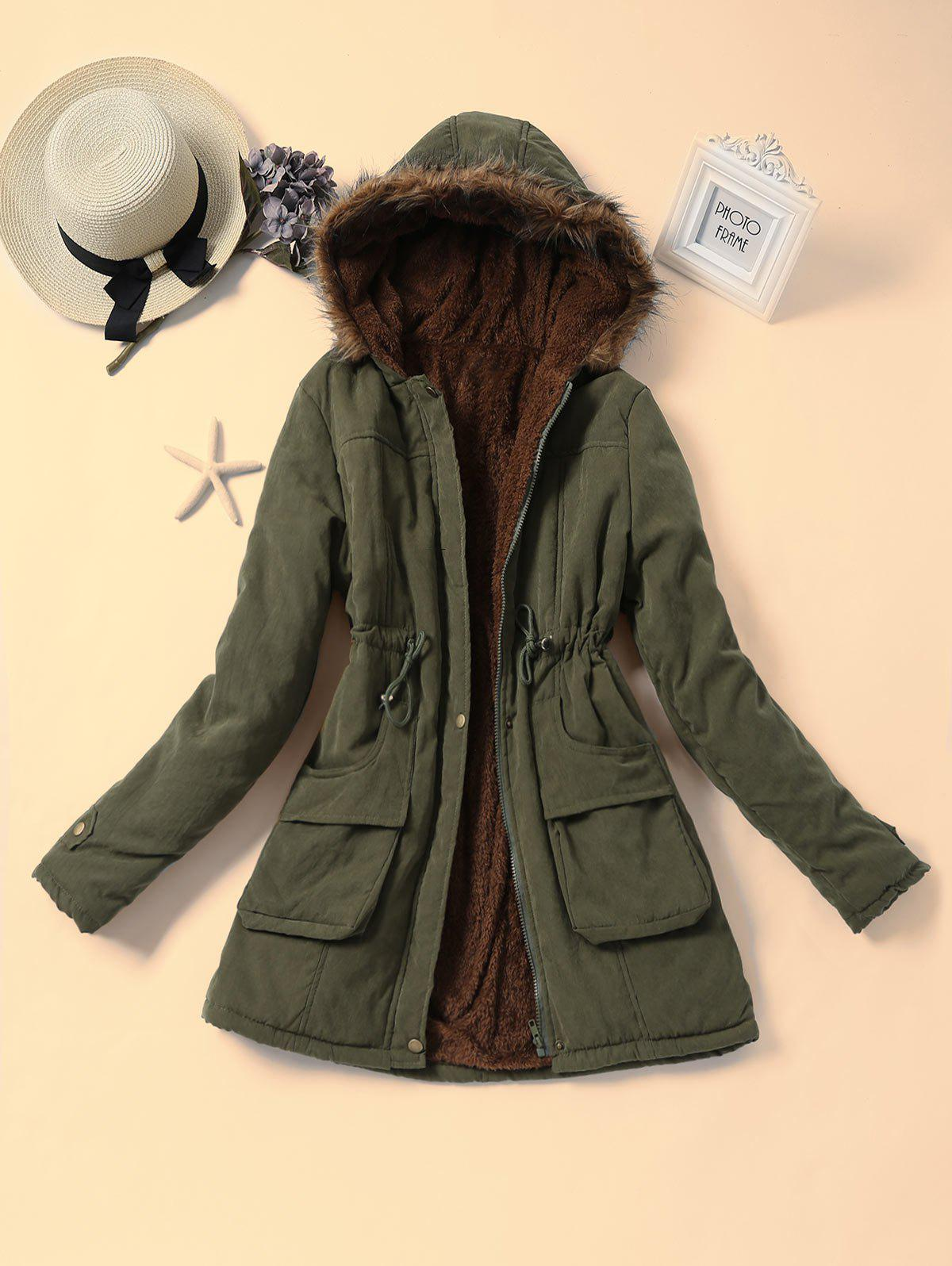 Faux Fur Hooded Drawstring Parka CoatWOMEN<br><br>Size: XL; Color: ARMY GREEN; Clothes Type: Parkas; Material: Cotton,Polyester; Type: Wide-waisted; Shirt Length: Long; Sleeve Length: Full; Collar: Hooded; Pattern Type: Solid; Style: Fashion; Season: Winter; Weight: 0.8500kg; Package Contents: 1 x Coat;