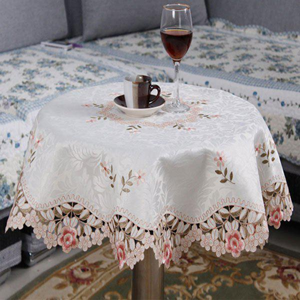 Unique Embroidered Jacquard Polyester Kitchen Round Table Cloth