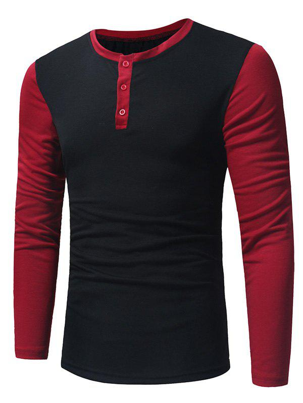 Long Sleeve Color Block Panel Henley T-ShirtMEN<br><br>Size: 2XL; Color: BLACK; Material: Cotton,Polyester; Sleeve Length: Full; Collar: Crew Neck; Style: Casual,Fashion,Streetwear; Embellishment: Button; Pattern Type: Color Block; Season: Fall,Winter; Weight: 0.3100kg; Package Contents: 1 x T-shirt;