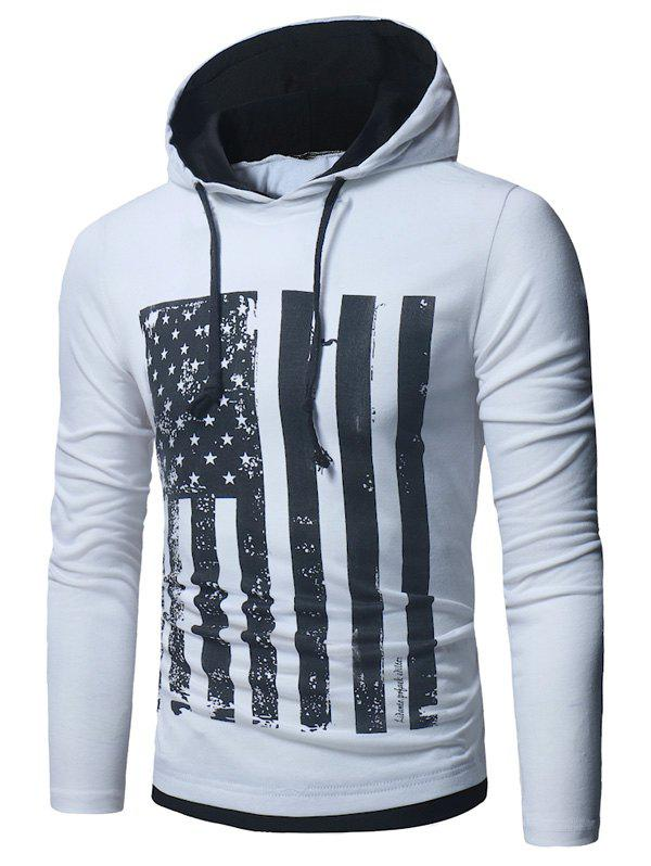 Chic Long Sleeve Distressed American Flag Print T-shirt