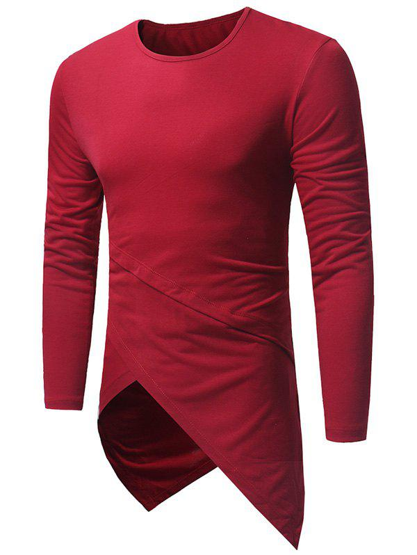 Affordable Long Sleeve Longline Asymmetric T-Shirt