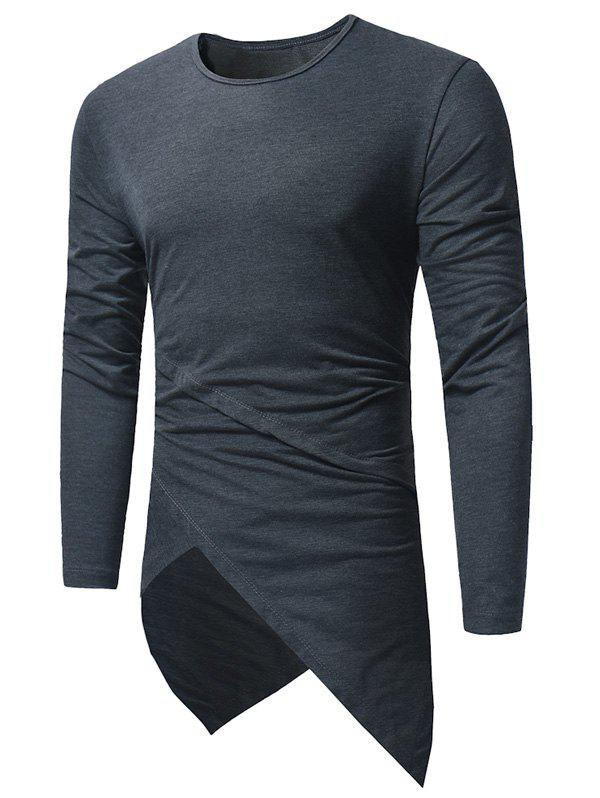Sale Long Sleeve Longline Asymmetric T-Shirt