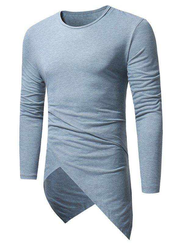 Discount Long Sleeve Longline Asymmetric T-Shirt