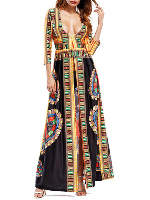 Tribal Print Plunging Neckline High Slit Maxi DressWOMEN<br><br>Size: 2XL; Color: BLACK; Style: Brief; Material: Polyester; Silhouette: A-Line; Dresses Length: Floor-Length; Neckline: Plunging Neck; Sleeve Length: 3/4 Length Sleeves; Pattern Type: Tribal Print; With Belt: No; Season: Fall,Spring; Weight: 0.4500kg; Package Contents: 1 x Dress;