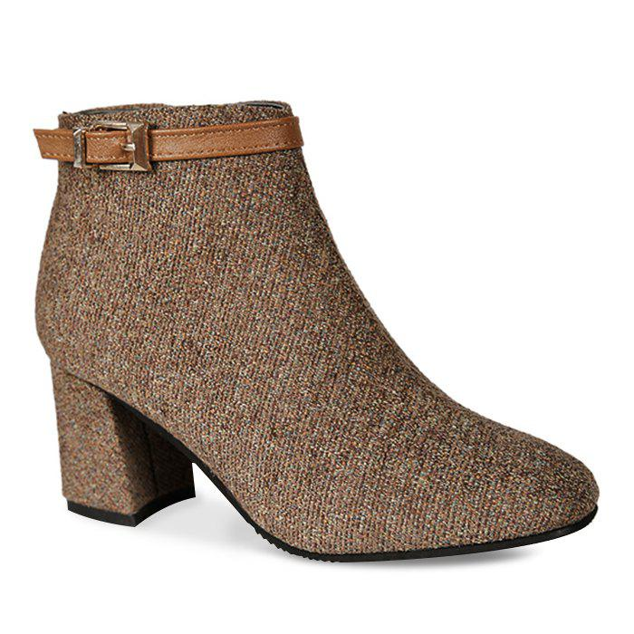 Buckle Strap Embellished Chunky Heel BootsSHOES &amp; BAGS<br><br>Size: 38; Color: BROWN; Gender: For Women; Boot Type: Fashion Boots; Boot Height: Ankle; Toe Shape: Round Toe; Heel Type: Chunky Heel; Heel Height Range: High(3-3.99); Closure Type: Zip; Shoe Width: Medium(B/M); Pattern Type: Patchwork; Embellishment: Buckle; Upper Material: Cloth; Weight: 1.1200kg; Season: Spring/Fall,Winter; Heel Height: 6.5CM; Package Contents: 1 x Boots (pair);