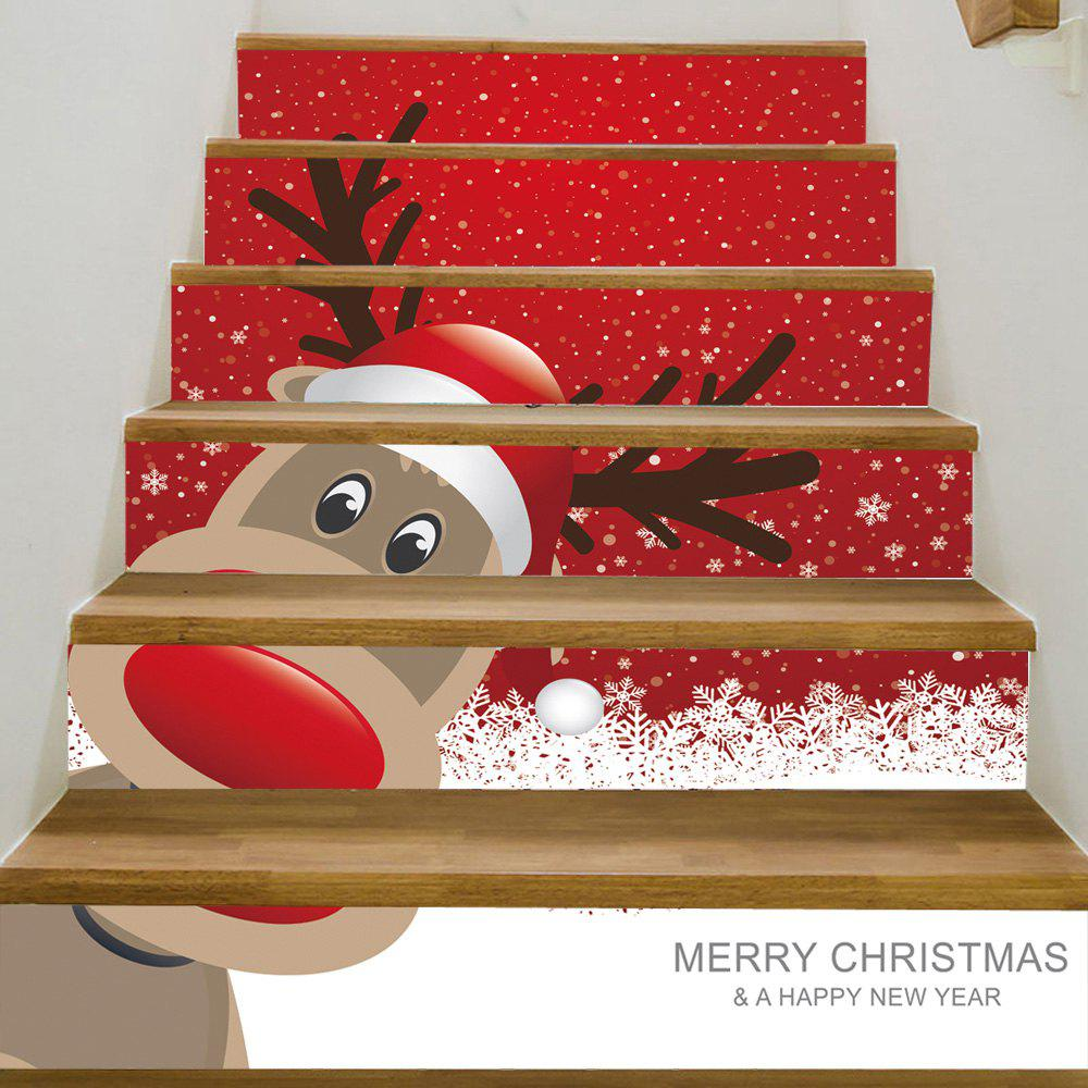 Christmas Deer Pattern Decorative Stair StickersHOME<br><br>Size: 100*18CM*6PCS; Color: RED; Wall Sticker Type: Plane Wall Stickers; Functions: Stair Stickers; Theme: Christmas; Pattern Type: Animal,Cartoon; Material: PVC; Feature: Removable; Weight: 0.3600kg; Package Contents: 1 x Stair Stickers;