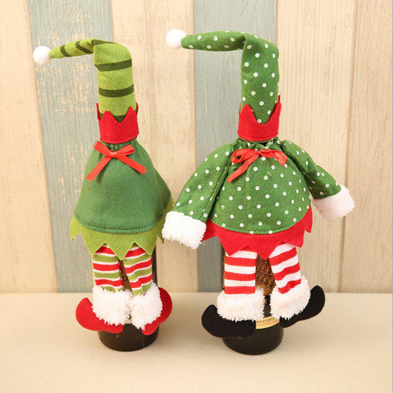 2Pcs Christmas Elf Clothes Wine Bottle Cover BagsHOME<br><br>Color: GREEN; Event &amp; Party Item Type: Party Decoration; Occasion: Brithday Party,Chinese New Year,Christmas,Party; Material: Polyester; Weight: 0.0500kg; Package Contents: 2 x Wine Bottle Cover Bags;