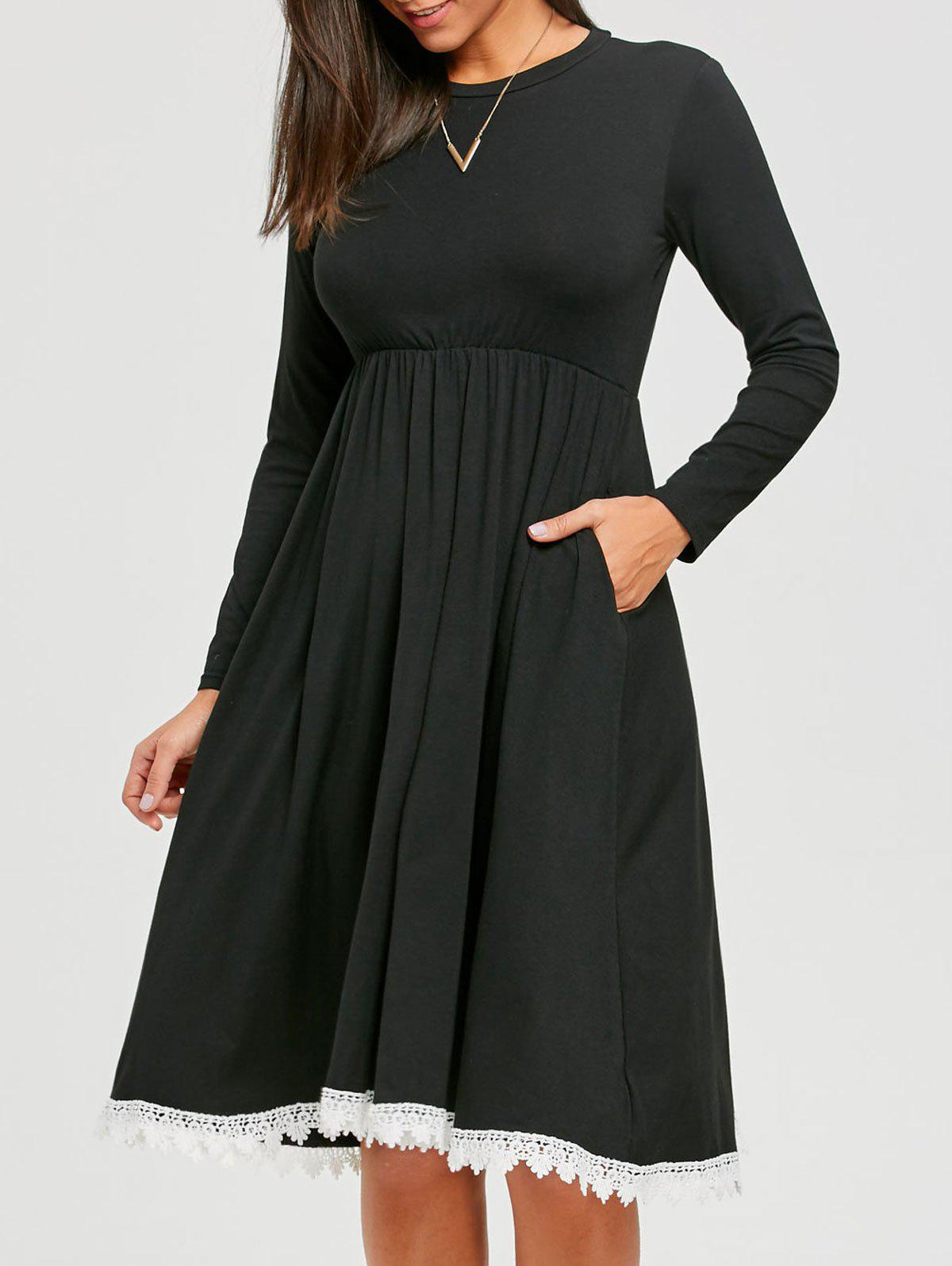Outfit Two Tone Crochet Panel Long Sleeve Dress