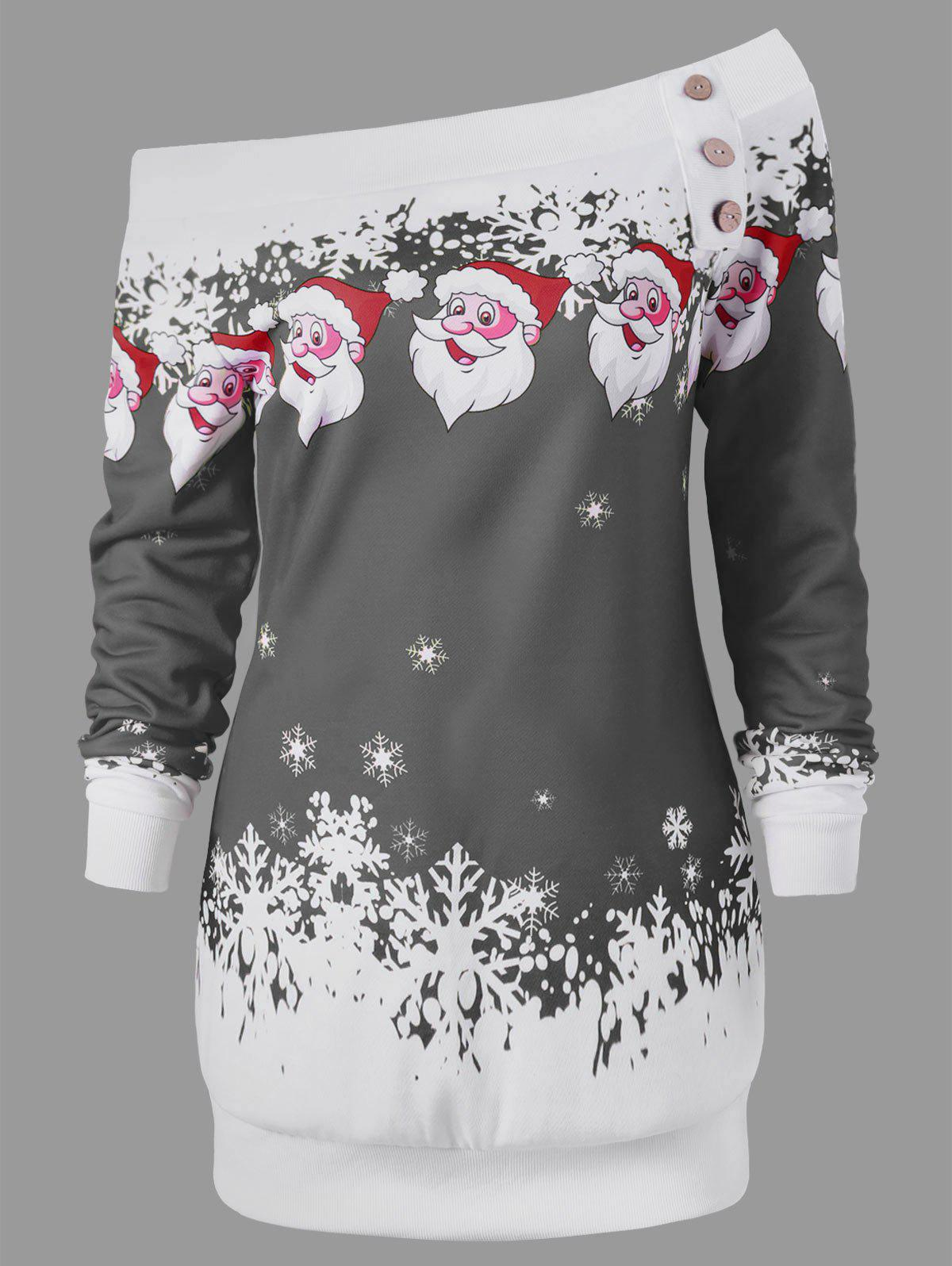 Pullover Santa Claus Snowflake Skew Neck Christmas SweatshirtWOMEN<br><br>Size: 2XL; Color: GRAY; Material: Polyester,Spandex; Shirt Length: Long; Sleeve Length: Full; Style: Casual; Pattern Style: Character; Embellishment: Button; Season: Fall,Spring,Winter; Weight: 0.3000kg; Package Contents: 1 x Sweatshirt;